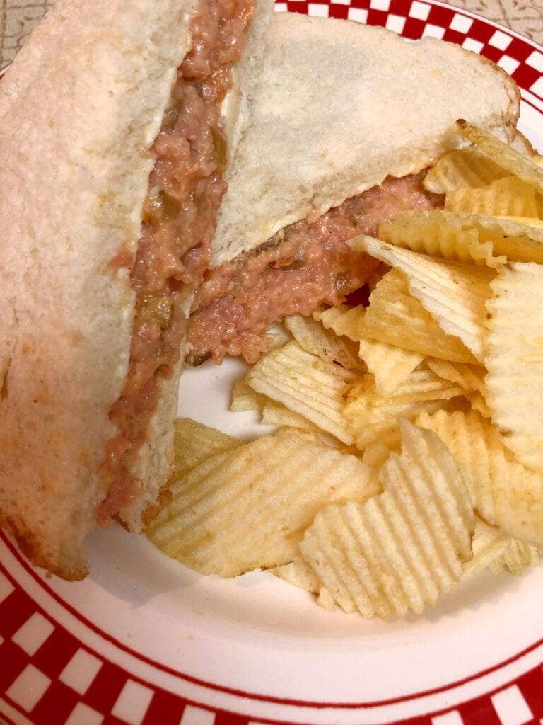 Ground Bologna Sandwich and Chips