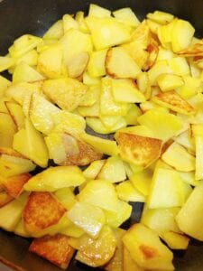 Potatoes starting to Brown and Crisp
