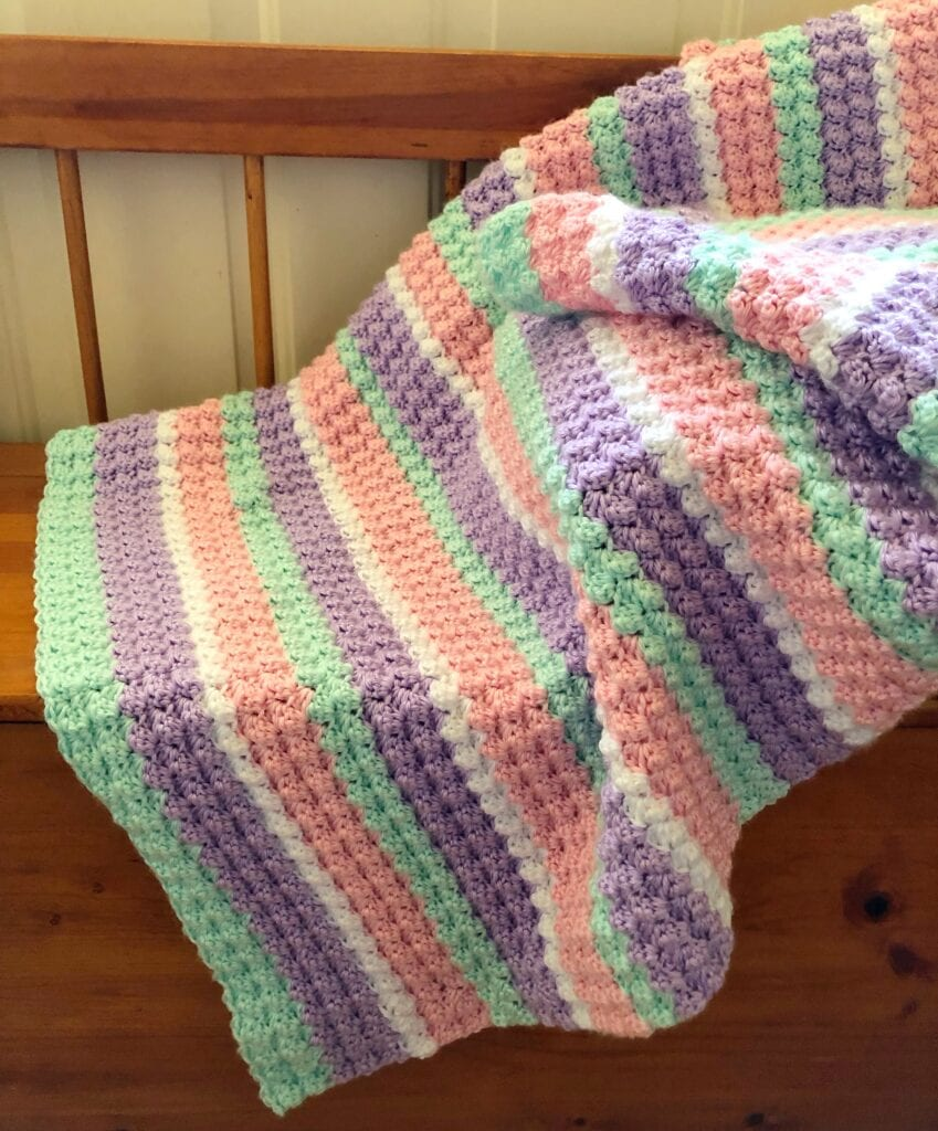 Baby blanket without border on bench
