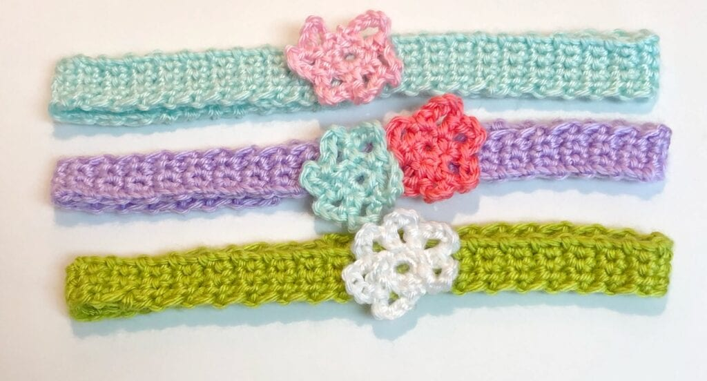 Crochet Headband with Flower Embellishments