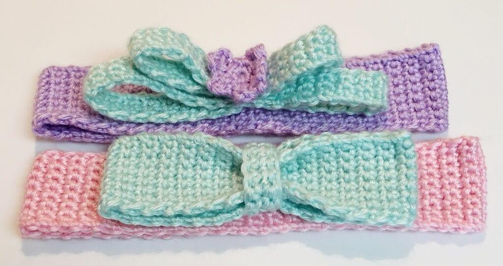 Crochet Headbands with Bow Embellishments