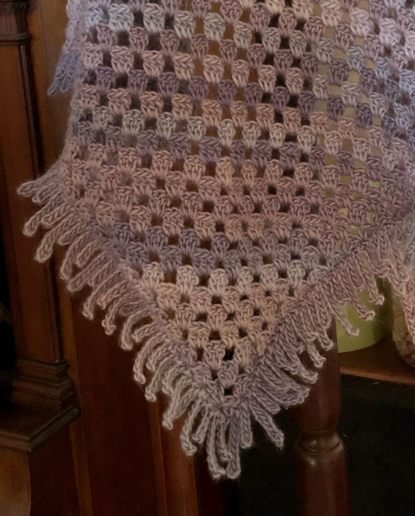Close up of Crochet Spiked Triangle Shawl
