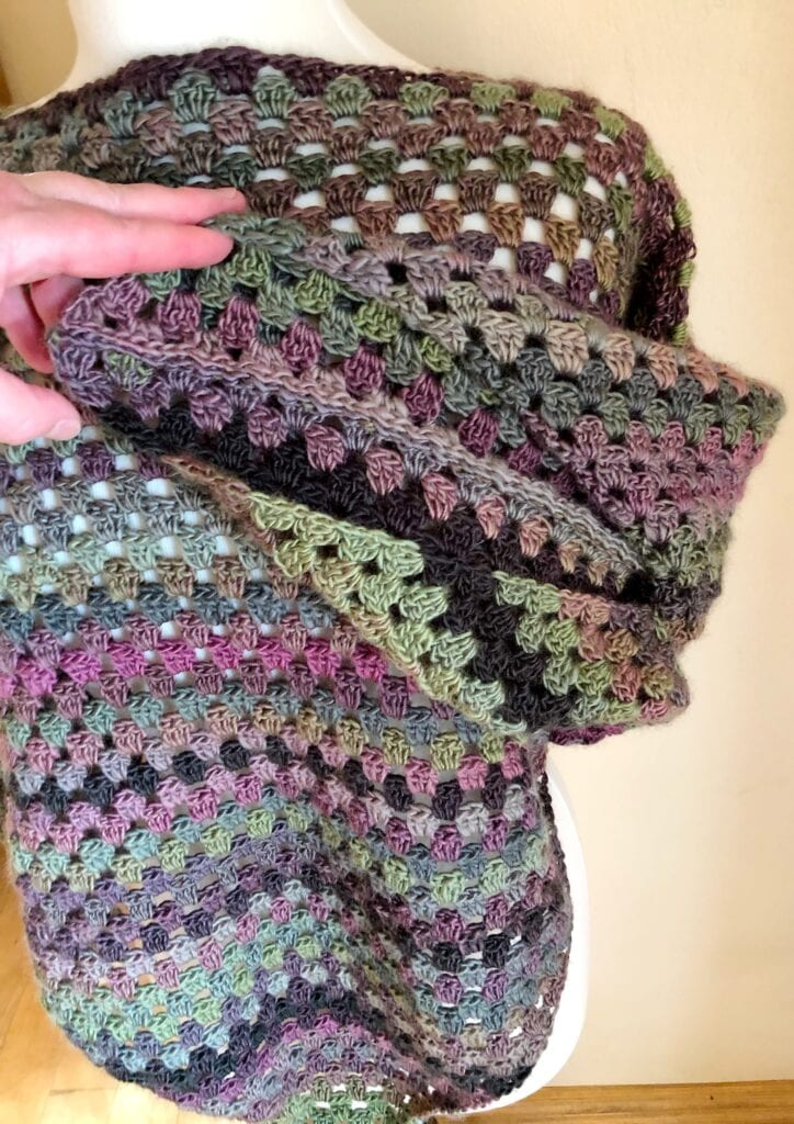 Photo of Arm Hole After Triangle Shawls are Joined