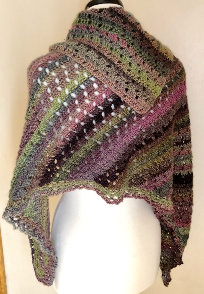 Asymmetrical Shawl Draped Over Shoulders