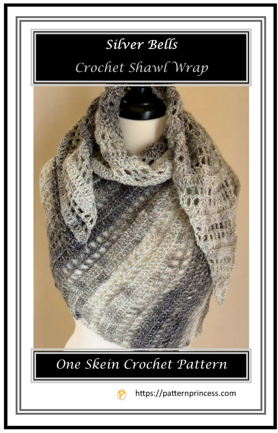 Silver Bells Crochet Shawl Wrap 1
