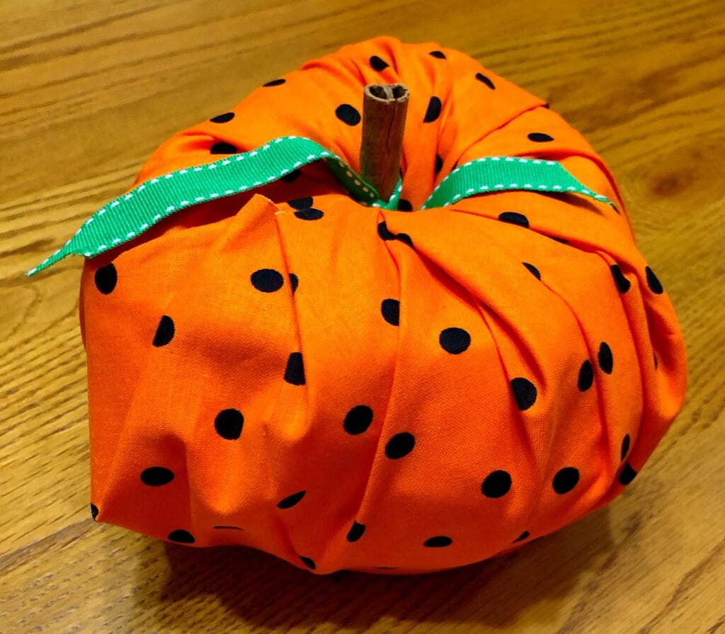 Completed No-Sew Fall Fabric Pumpkin