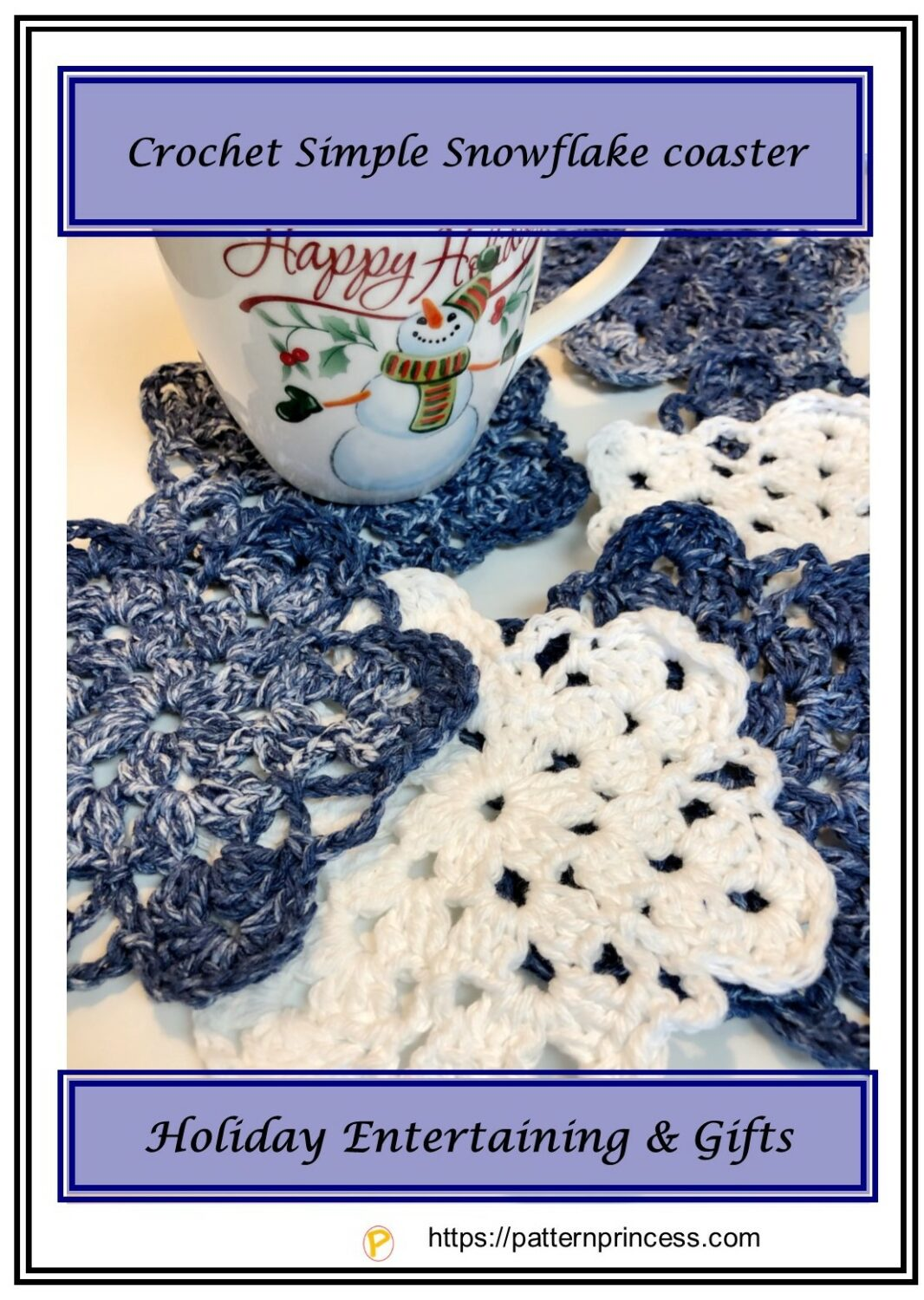 Crochet Simple Snowflake coaster 1