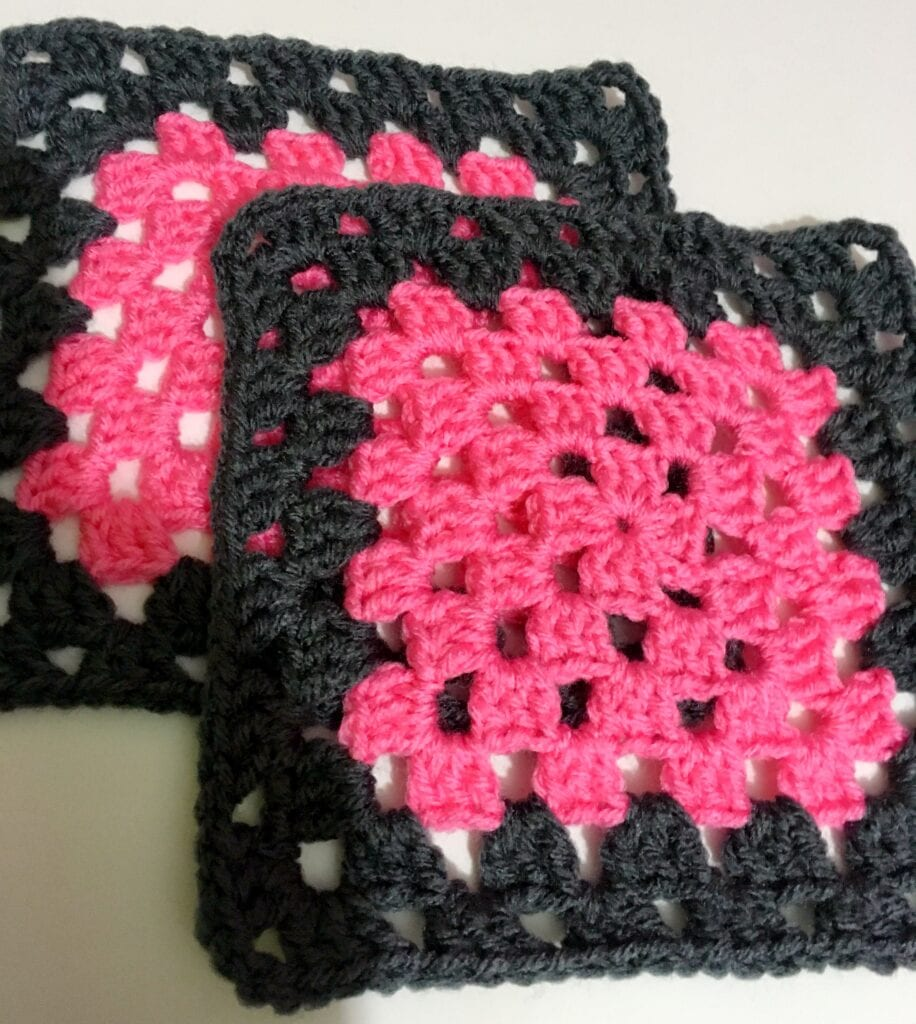 Perfect Pink and Charcoal Grey Granny Square