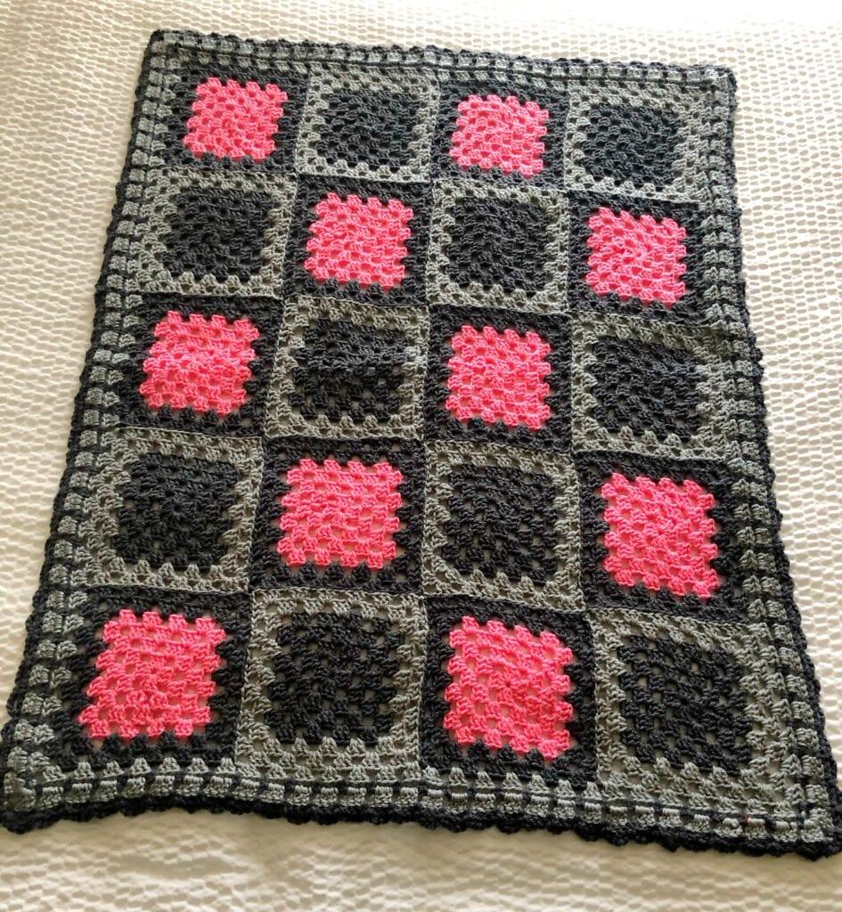 Pink and Grey Crochet Blanket