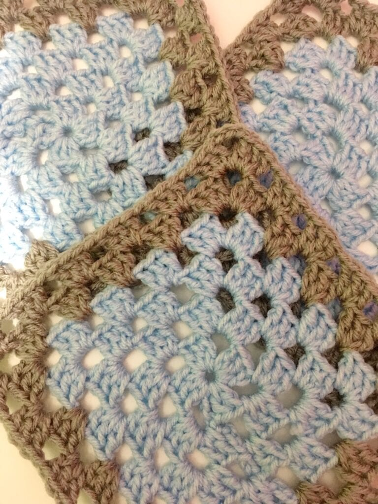 Light Blue and Dusty Grey Granny Square