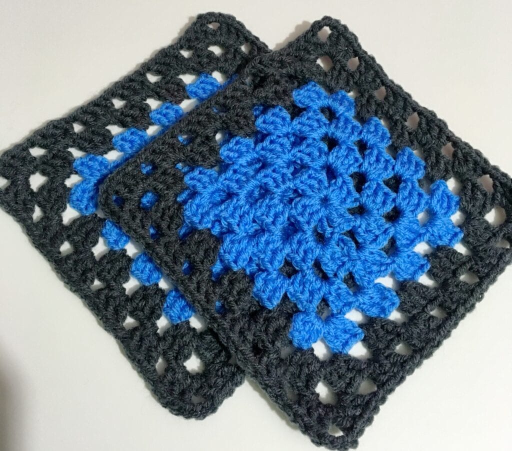 Deft Blue and Charcoal Granny Square