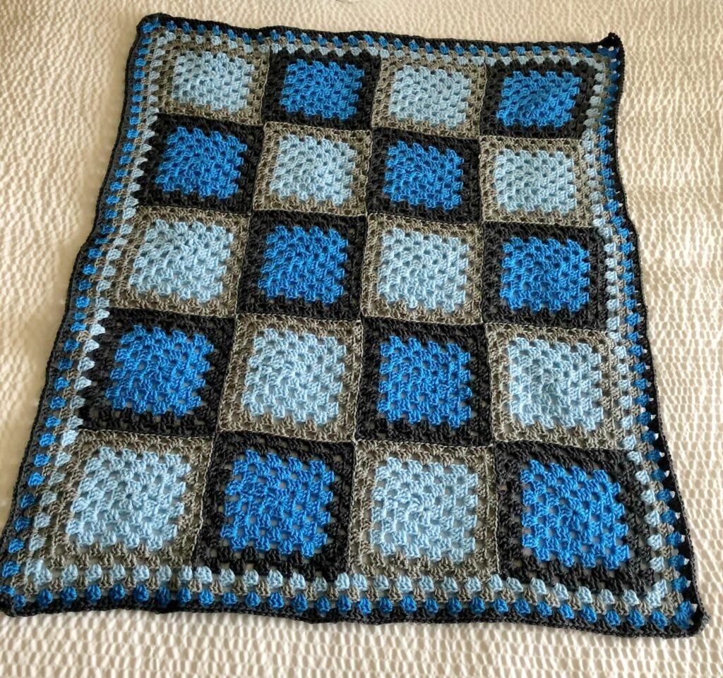 Crochet Blue and Grey Blanket