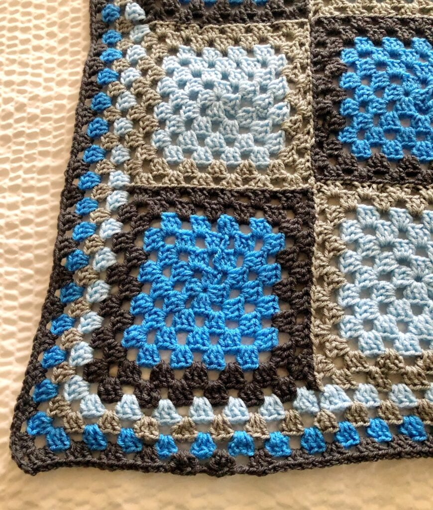 Joining the Granny Squares of the Blue Agate Crochet Blanket