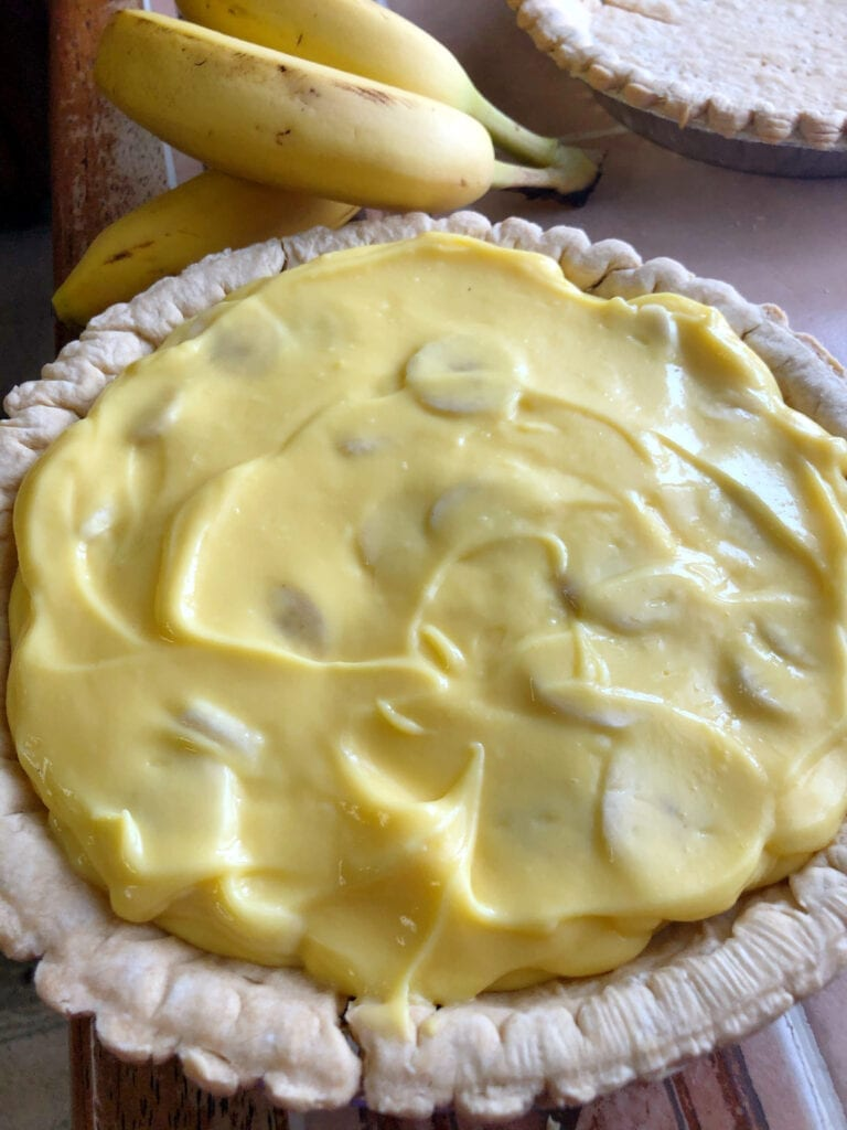 Banana Cream Pie Without Top Layer of Bananas Added Yet