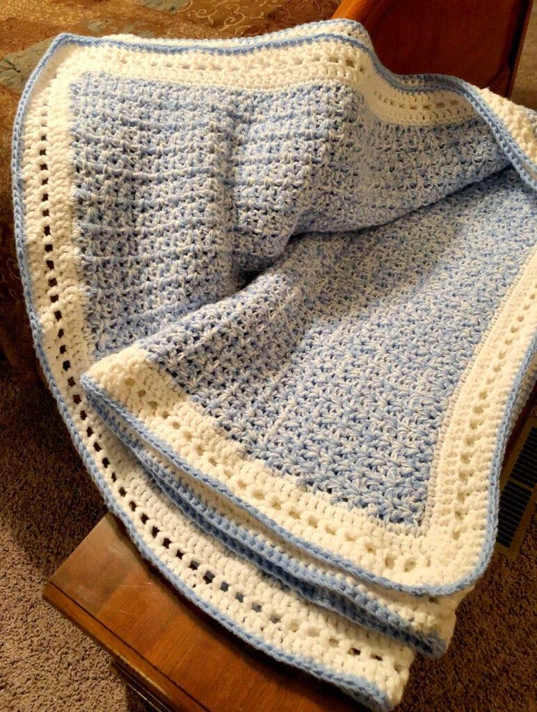 V-Stitch Chunky Blanket Partially Folded Open