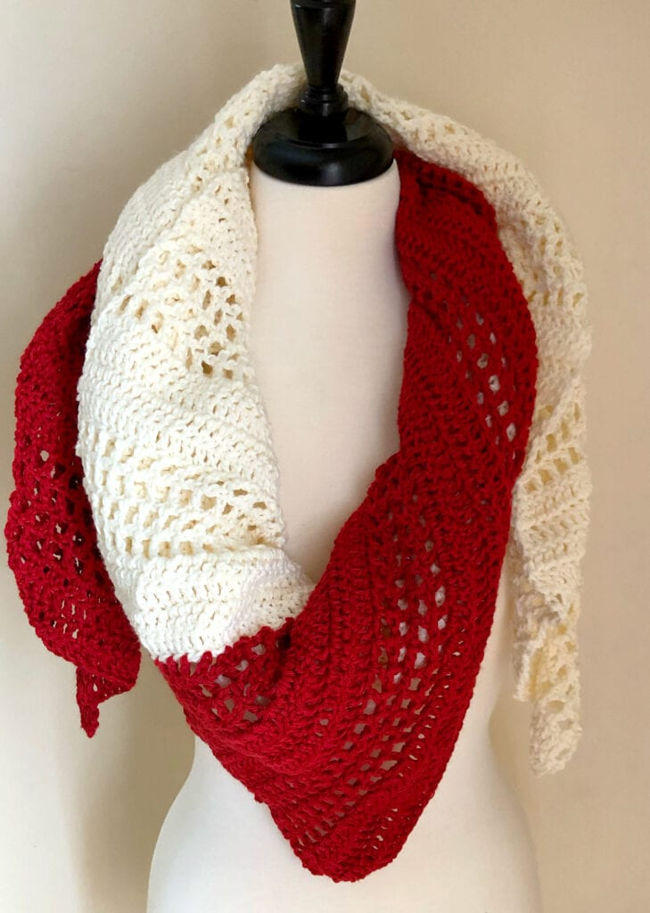 Red and White Crochet Scarf