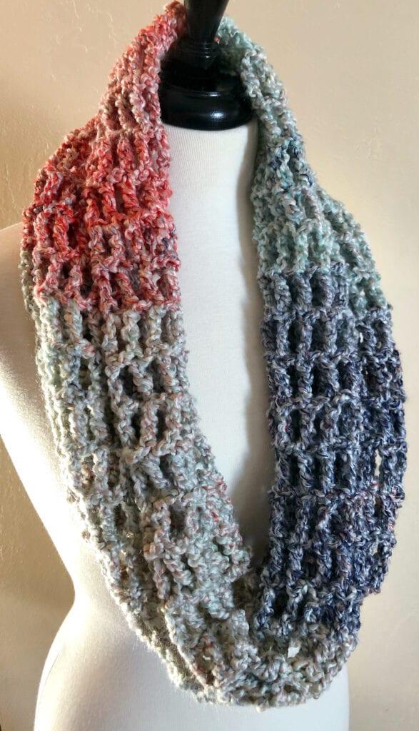 Cardinal Cowl Crochet Pattern Worn Around the Neck