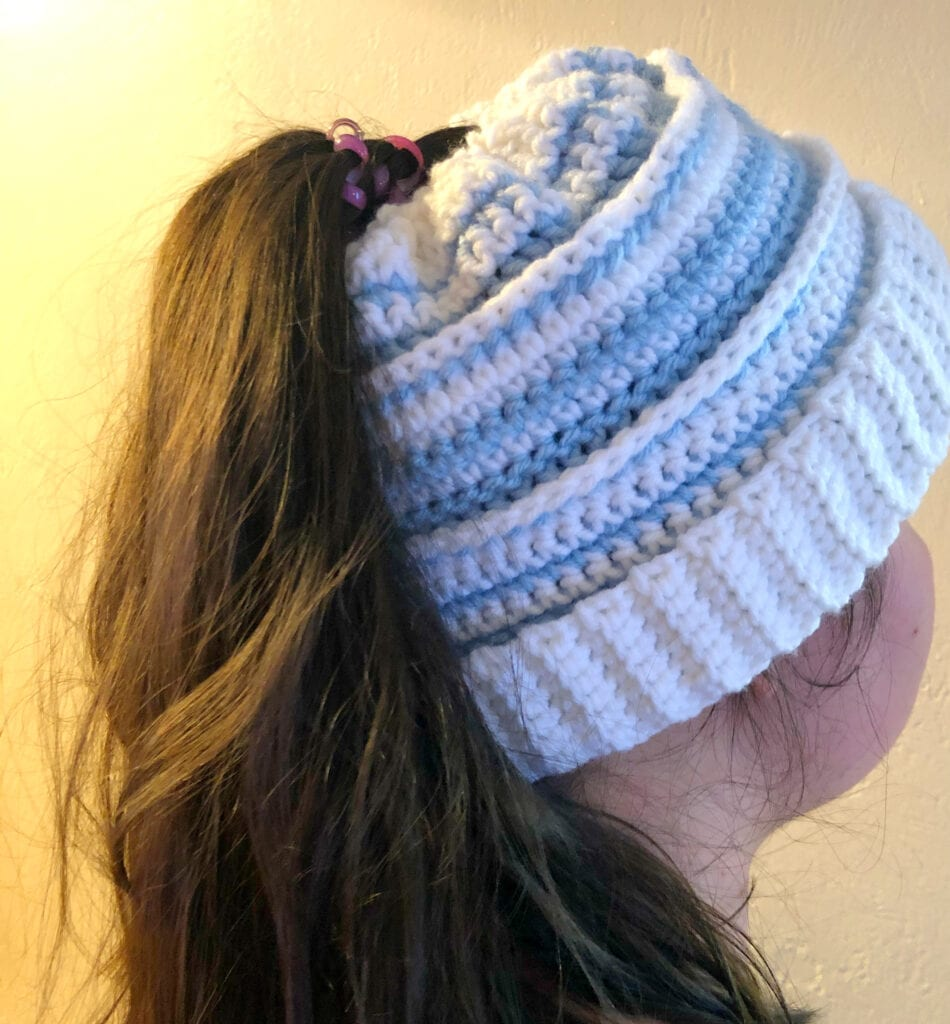 Alison Messy Bun Beanie with Pony Tail Hair Styled