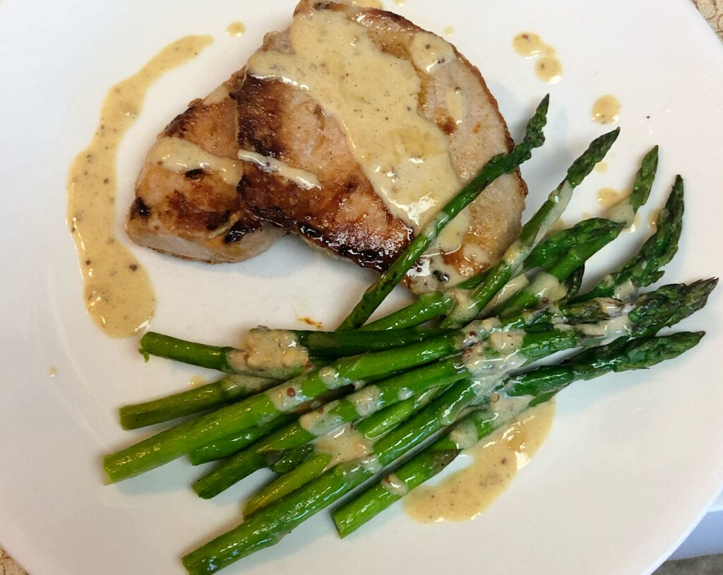 Pork and Asparagus with Creamy Garlic Butter Sauce