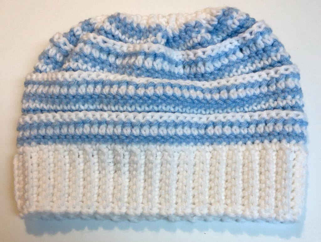 Completed Crochet Messy Bun Beanie