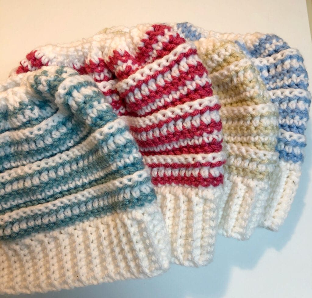 Crochet Beanie Hat in Four Colors