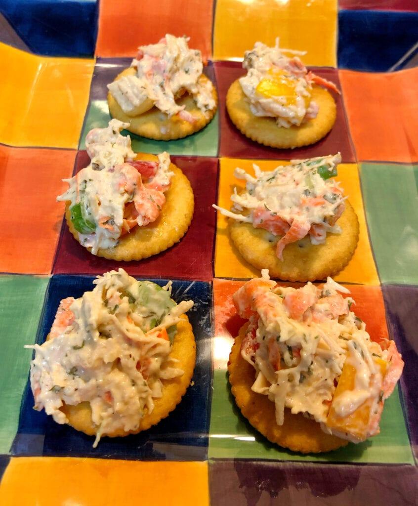 Chicken Salad Served on Crackers