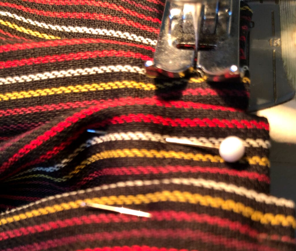 Sewing Over the Pleats