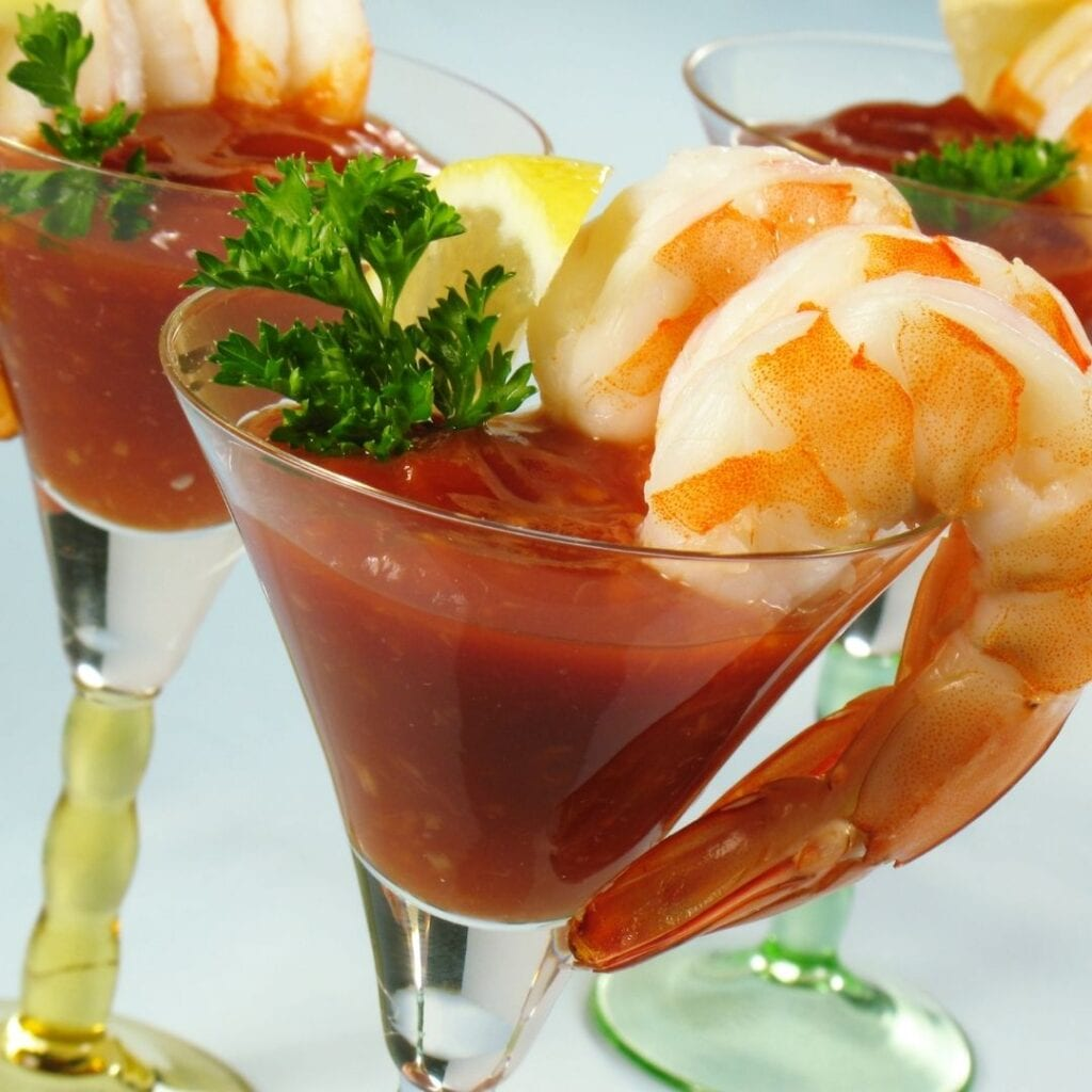 Shrimp Cocktail in a Fancy Glass