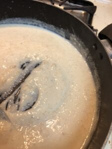Roux mixture starting to thicken
