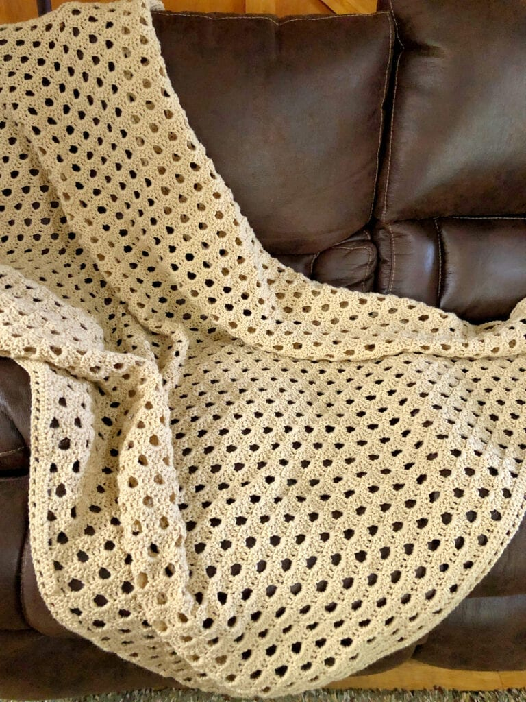 Crochet Lacy Blanket on Leather Sofa