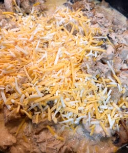 Adding Shredded cheese to the Skillet