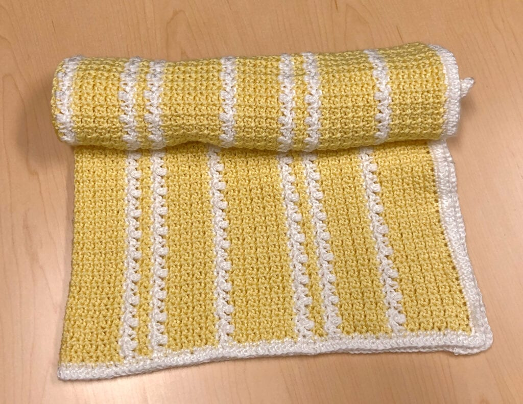 Crochet Textured and Bobbles Blanket Rolled Showing Edge