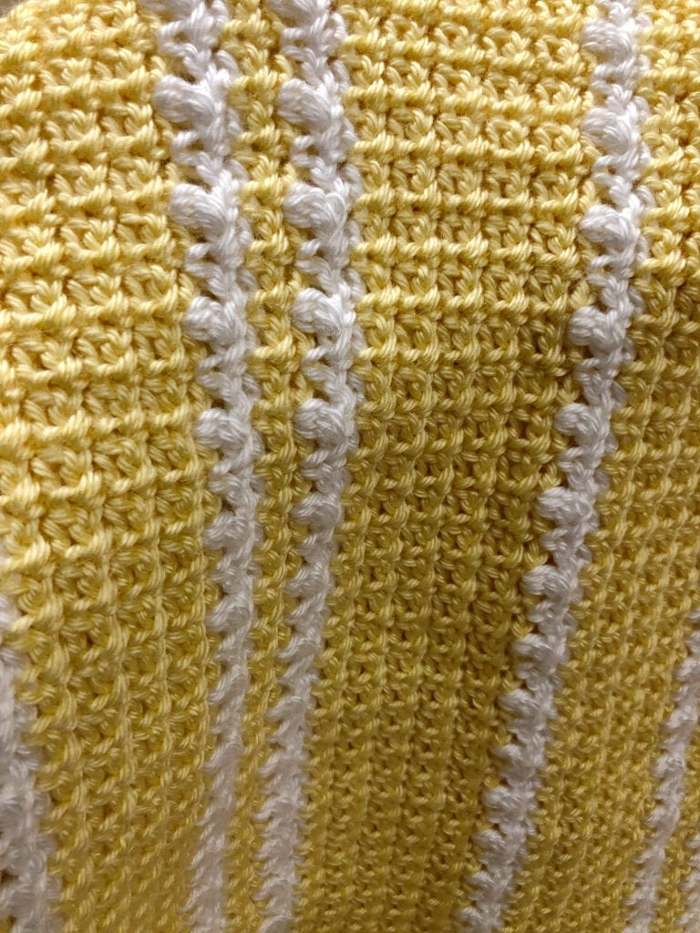 Soft Yellow and White Textured Baby Blanket
