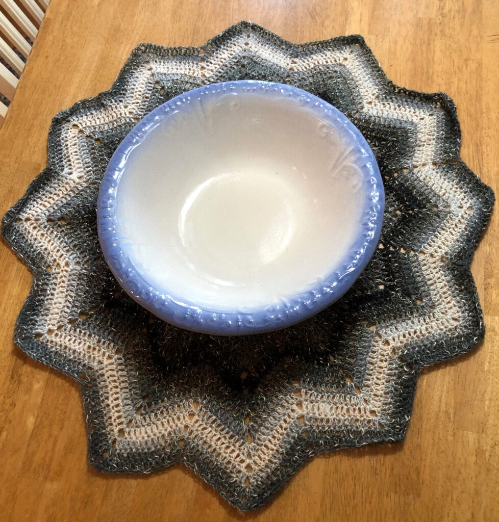12-Point Star Crochet Doily with Wash Basin in the Middle