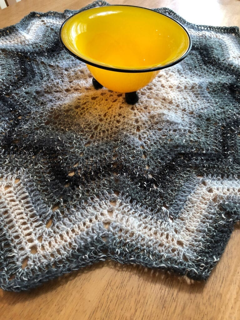 Crochet Chevron Tablecloth with Decorative Bowl in the Middle