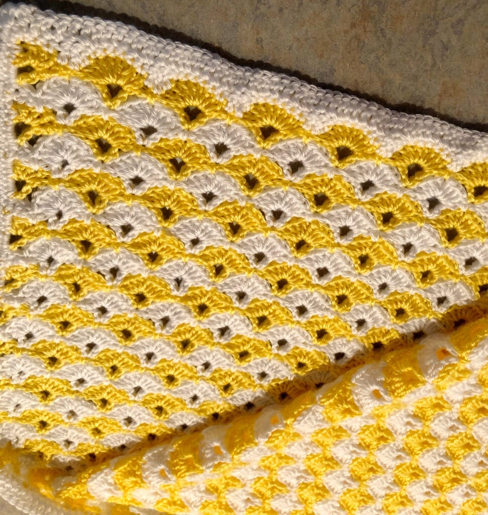 Double Crochet Border on Baby Blanket