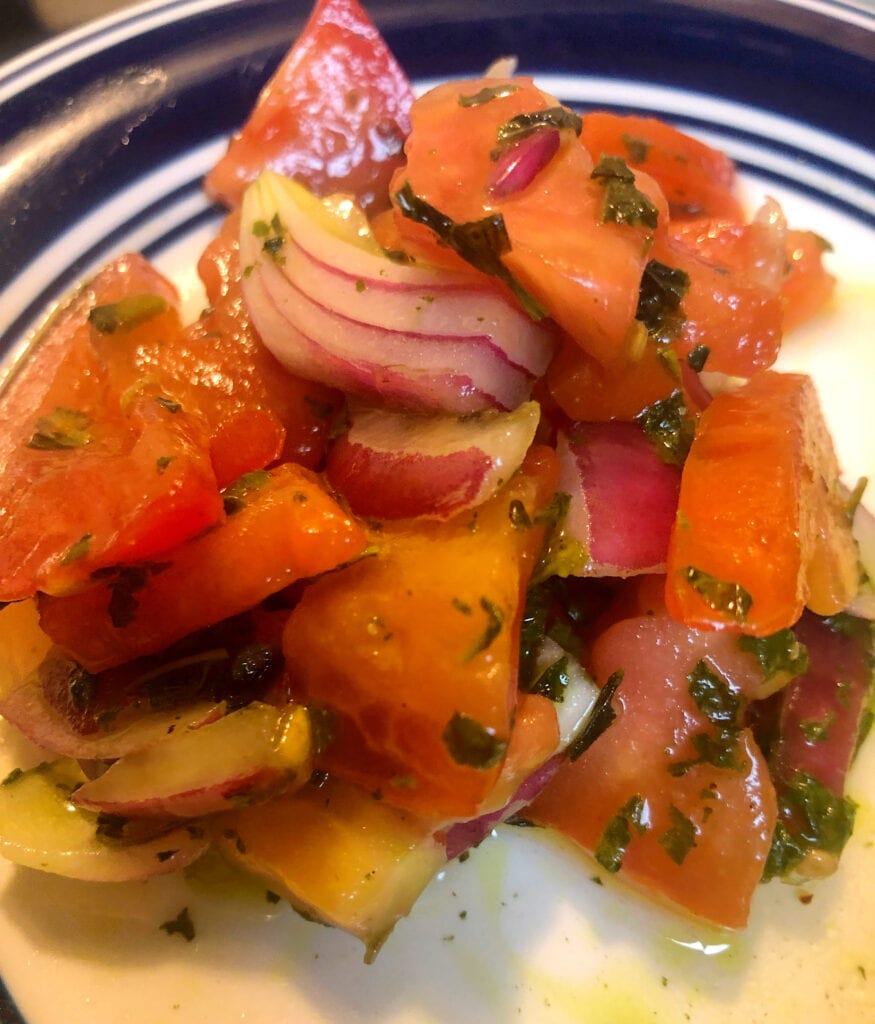 Serving Tomato and Onion Salad