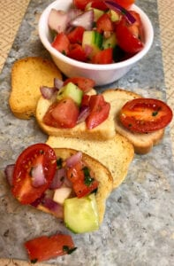 Tomato and Cucumber Crostini