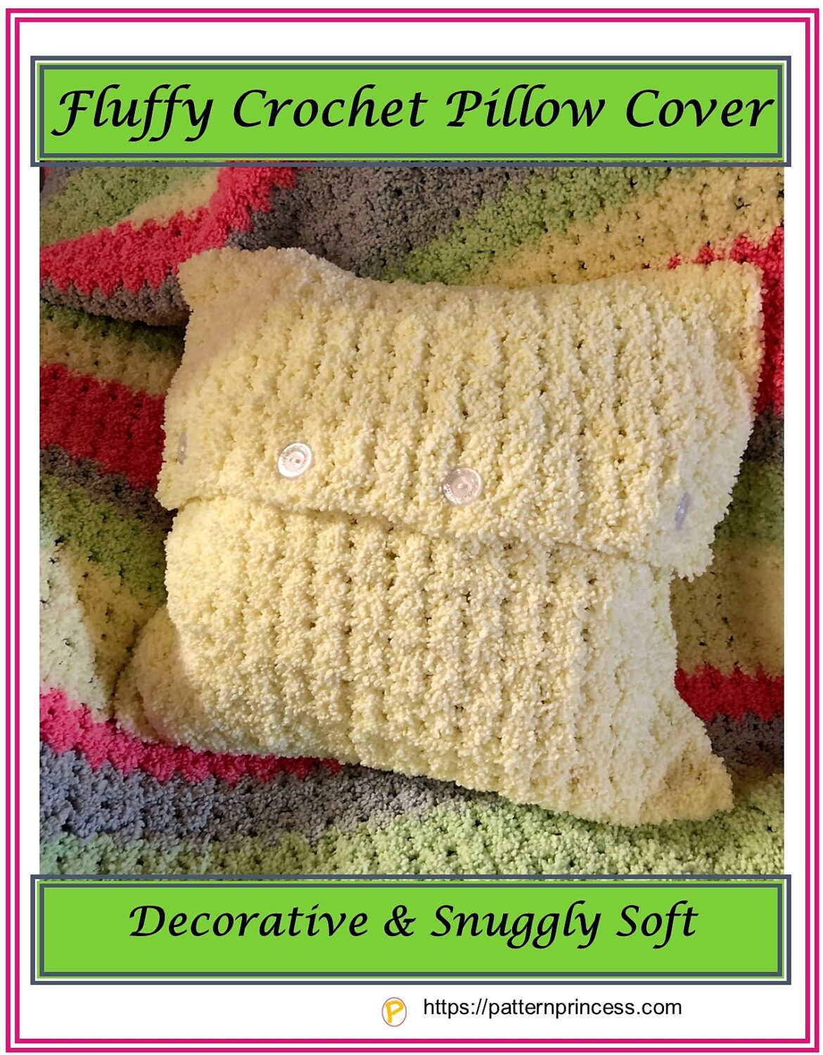 Fluffy Crochet Pillow Cover