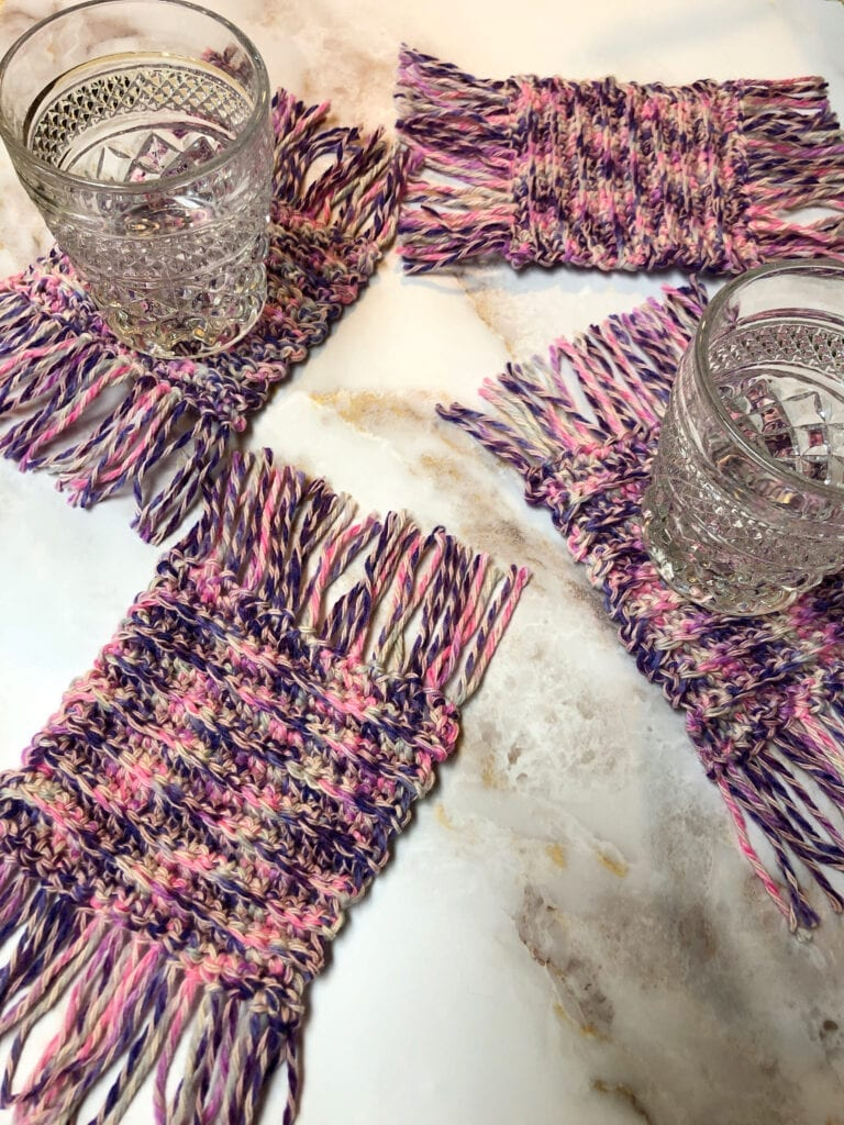 Glasses on Ribbed Crochet Coasters