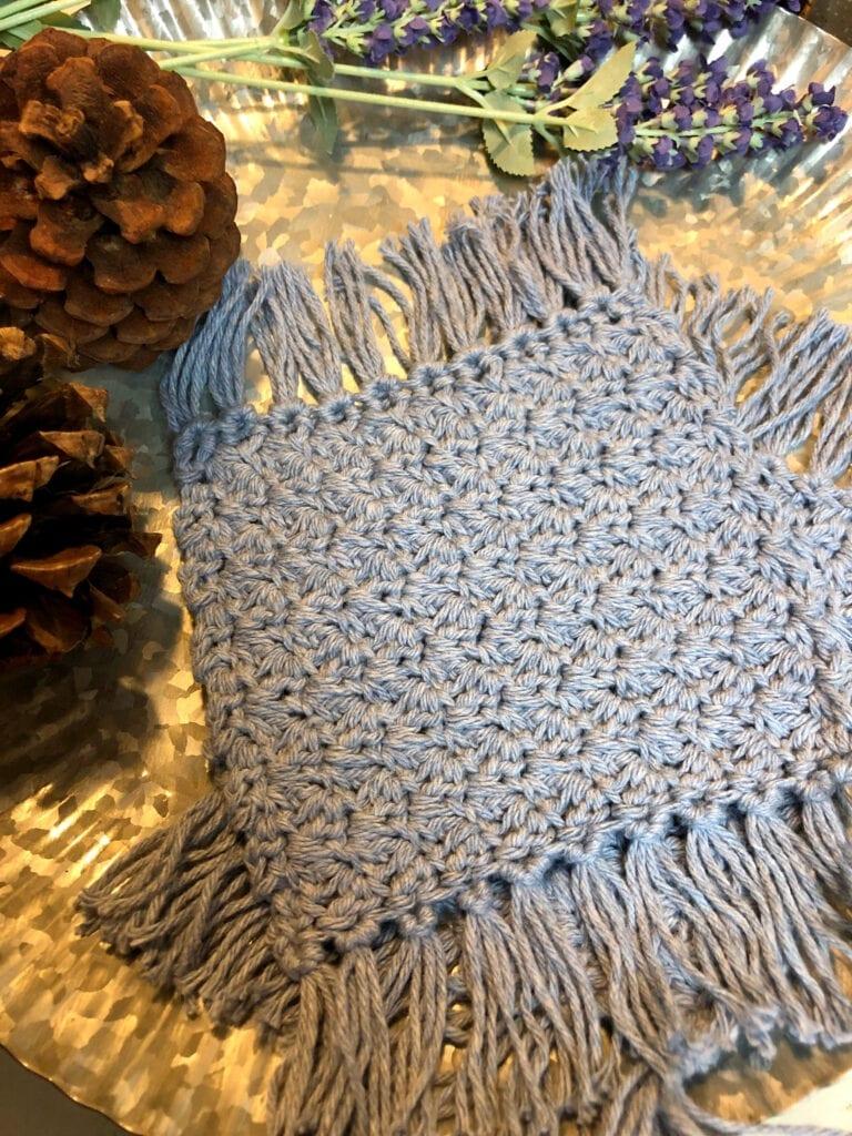 Square Crochet Coaster with Fringe