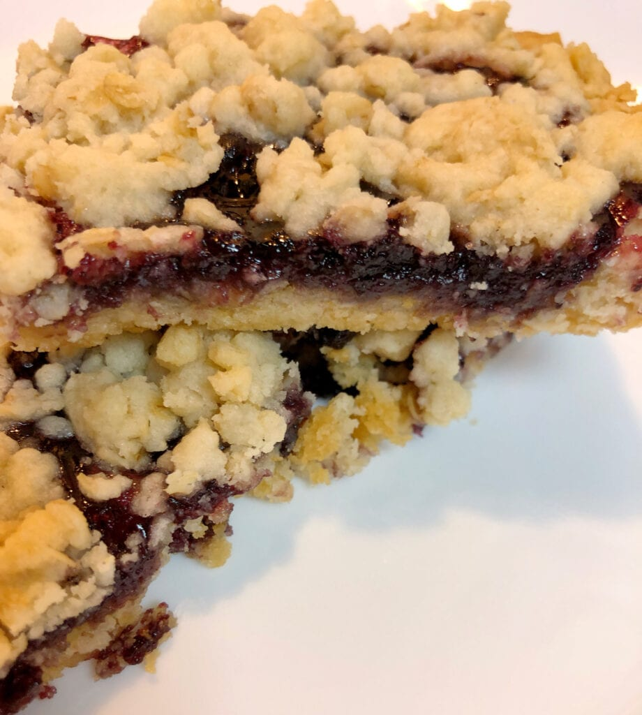 5-Ingredient Vanilla Blueberry Cake Mix Bars Served on a Plate