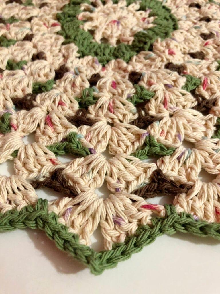 Close up of Crochet Shell Stitch Doily