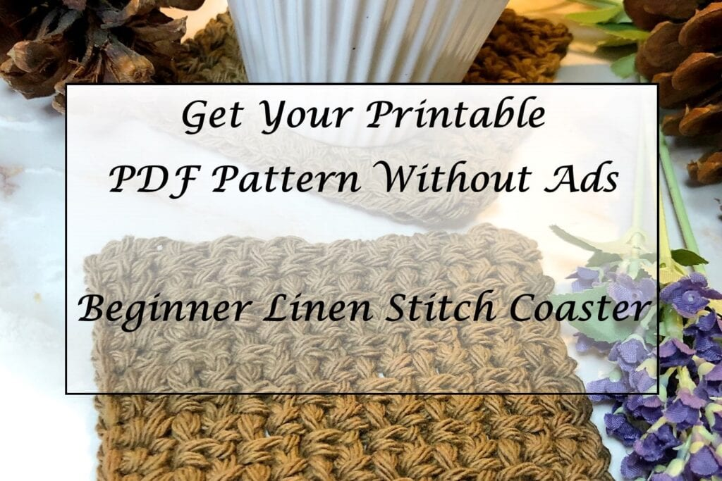 Beginner Linen Stitch Coaster Printable Pattern PDF