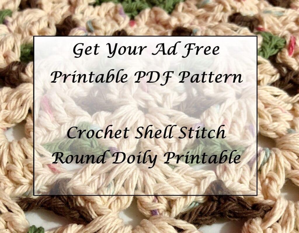 Crochet Shell Stitch Round Doily Printable