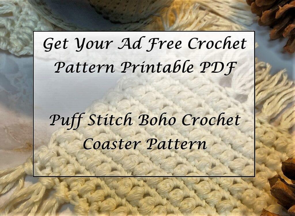 Puff Stitch Boho Crochet Coaster Pattern