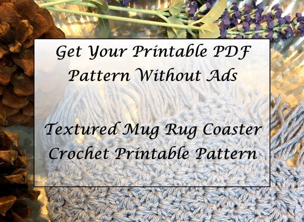 Textured Mug Rug Coaster Crochet Printable Pattern