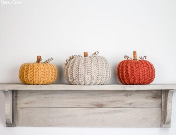 Crochet Pumpkins on a Shelf