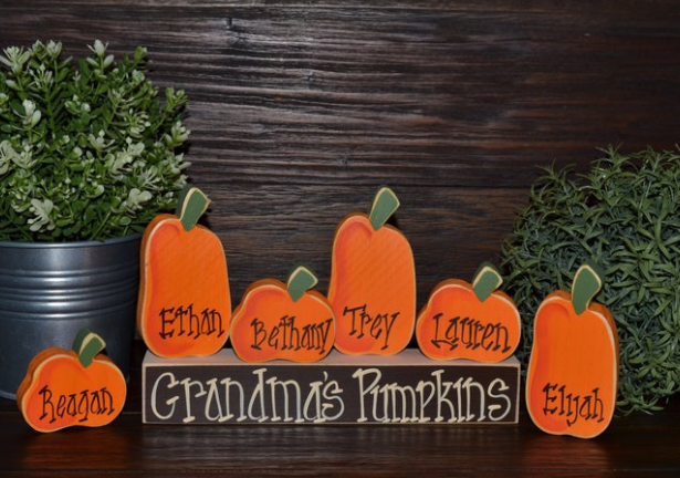 Personalized Pumpkins Family Block Set Fall Decor