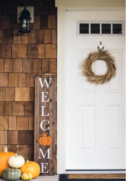 Pumpkin Fall Welcome Sign Thanksgiving Autumn Farmhouse Style Porch Decor